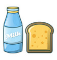 bottle of milk and bread icon cartoon style vector image vector image