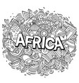 cartoon cute doodles africa word funny vector image vector image