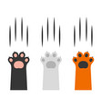 cat claw scratching set on white background vector image vector image