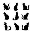cats collection set silhouette 9x black vector image