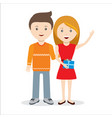 couple standing together with gift vector image vector image