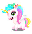cute unicorn pony with mane colors rainbow vector image vector image