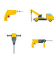 drilling machine electric icons set flat style vector image