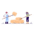 farmers couple hay making with pitchfork flat vector image