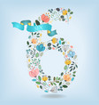 floral number six with blue ribbon vector image vector image