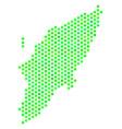 Green hex-tile greek rhodes island map vector image