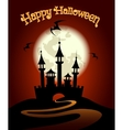 Halloween Background with Castle and Bat vector image vector image
