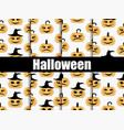 halloween seamless patterns set scary faces vector image
