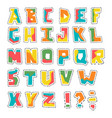 hand lubberly cut colorful alphabet with vector image