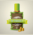 happy saint patricks day label vector image vector image