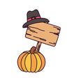 happy thanksgiving day pumpkin wooden sign pilgrim vector image