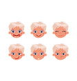 head a boy with different emotions happy vector image