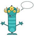 horned blue monster cartoon character vector image vector image