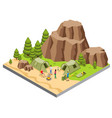 isometric mountain camping template vector image
