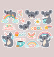 magic koala stickers lazy australian koalas vector image