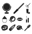 makeup and cosmetics black icons in set collection vector image