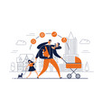 man with task icons around head and several arms vector image vector image