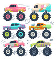 monster trucks kids car toys cartoon set vector image