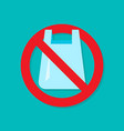 no plastic bag flat icon vector image vector image