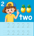 number two tracing worksheets vector image
