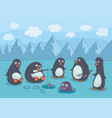 penguins fishing vector image vector image