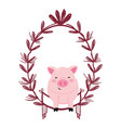 pig with leaves arrangement vector image
