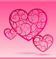 pink decorative paper hearts vector image vector image