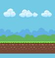 pixel 8bit game background with ground