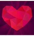 Polygonal heart on purple background Ruby vector image vector image
