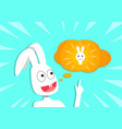 rabbit get new idea cartoon vector image vector image