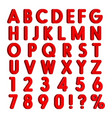 red 3d letters numbers signs vector image vector image