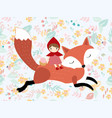 red hood girl ride fox in spring flower seamless vector image vector image