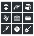 Set of Bank Robbery Icons Thief Weapon vector image vector image