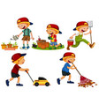 set of boy gardening vector image