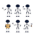 set of cute robots in vector image vector image