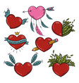 set of different valentines hearts vector image vector image