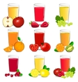 Set of fresh fruit and vegetable juice vector image vector image