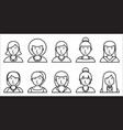 set of women outline icons on white background vector image vector image