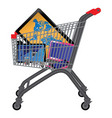 shopping cart with goods vector image vector image
