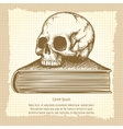 Sketch of human skull on book vector image vector image