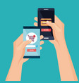 smartphone with ecommerce application vector image