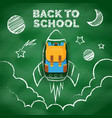 space drawing with chalk on school blackboard vector image vector image