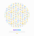 success concept in circle thin line icons vector image vector image