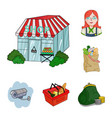 supermarket and equipment cartoon icons in set vector image vector image