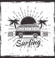 surfing bus with palms black emblem vector image