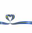 swedish flag heart-shaped ribbon vector image