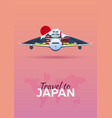 travel to japan airplane with attractions travel vector image vector image