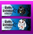 Two horizontal cards with rabbit and crow vector image vector image