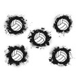 volleyball balls and grunge spots isolated icons vector image