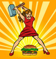 woman destroys fast food burger vector image